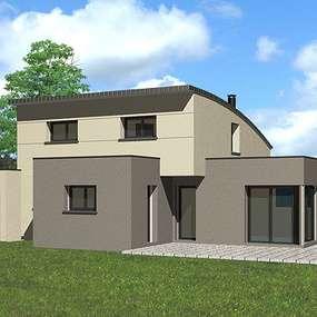 maison toit plat et monopente zinc quartz a plerin
